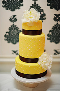 Yellow & Brown Swiss Dot Cake