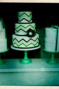 Green & Navy Chevron Cake