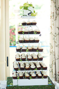 All White Cupcake Tower with Whimsical Accents