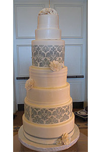 7 Tier Ivory and Grey Damask Rose Cake