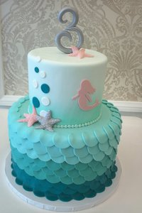 Mermaid Ombre Mint Cake · Baby Shower ...