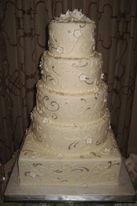 Pewter & Ivory French Flourish Wedding Cake
