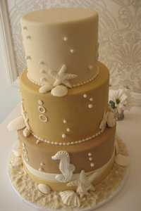 Tan Beach Themed Wedding Cake