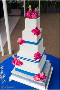 Preppy White & Cobalt Blue Stripe Wedding Cake