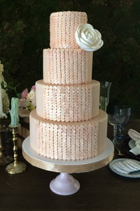 Champagne Sequin Wedding Cake