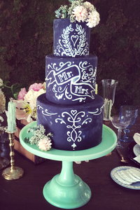 Romantic Chalkboard Wedding Cake
