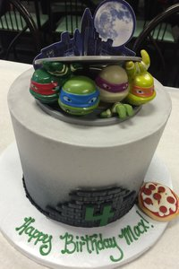 Ninja Turtle Cake with Topper