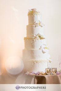 5 Tier White Piped Dragee Embossed Cake