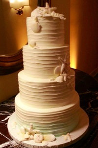 4 Tier Horizontal Whipped Exterior with Sea Shells