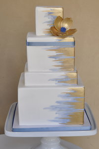Metallic Gold & Periwinkle Brushed Cake