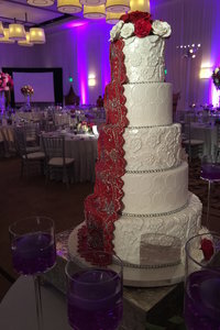 Indian Red & White Wedding Cake