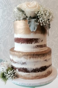 Rustic Barely Naked Gold Cake
