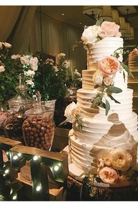5 Tier Horizonal Whipped Exterior Wedding Cake with Roses