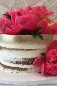 Barely Naked Cake with Gold & Florals