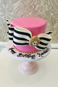 Striped Bow Pink Glam Cake