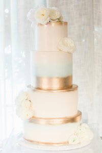Ombre Water Color Blue and Gold 4 Tier Wedding Cake