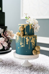 Blue and Gold Drip Macaron Cake