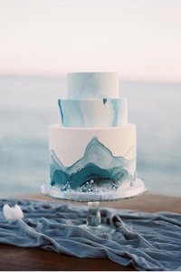 Watercolor Saphire and Slate Wedding Cake