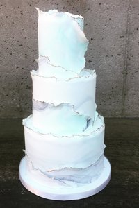 Torn Waves and Gold Edges 3 Tier Cake