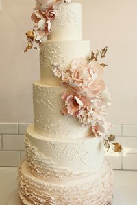 Asymmetric Blush Floral 5 Tier Cake
