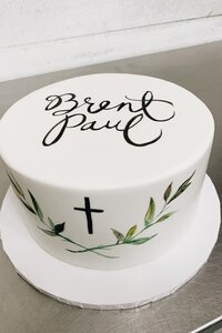 Handpainted Cross Cake, Leaves and Name