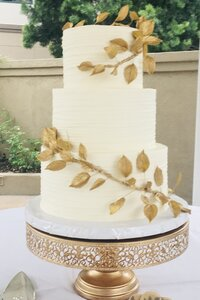 Gold Leaf Cascade with Fine Horizontal Whipped Exterior