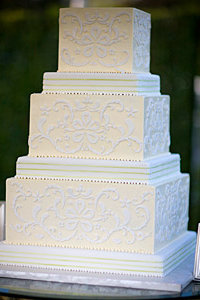 White Fondant Damask Wedding Cake