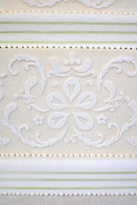 Close Up White Fondant Damask Wedding Cake