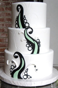 White, Black & Celadon Green Swirls & Waves Cake.