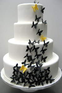 3 Tier Black & Yellow Custom Fondant Butterfly Cake
