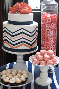 Navy Blue, Coral Pink and White Fondant Zig Zag Cake