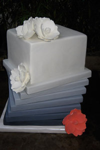 8 Tier Architectural Cake with Coral Sugar Magnolia