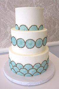 Piped Mint Blue & Taupe Circular Dot Cake