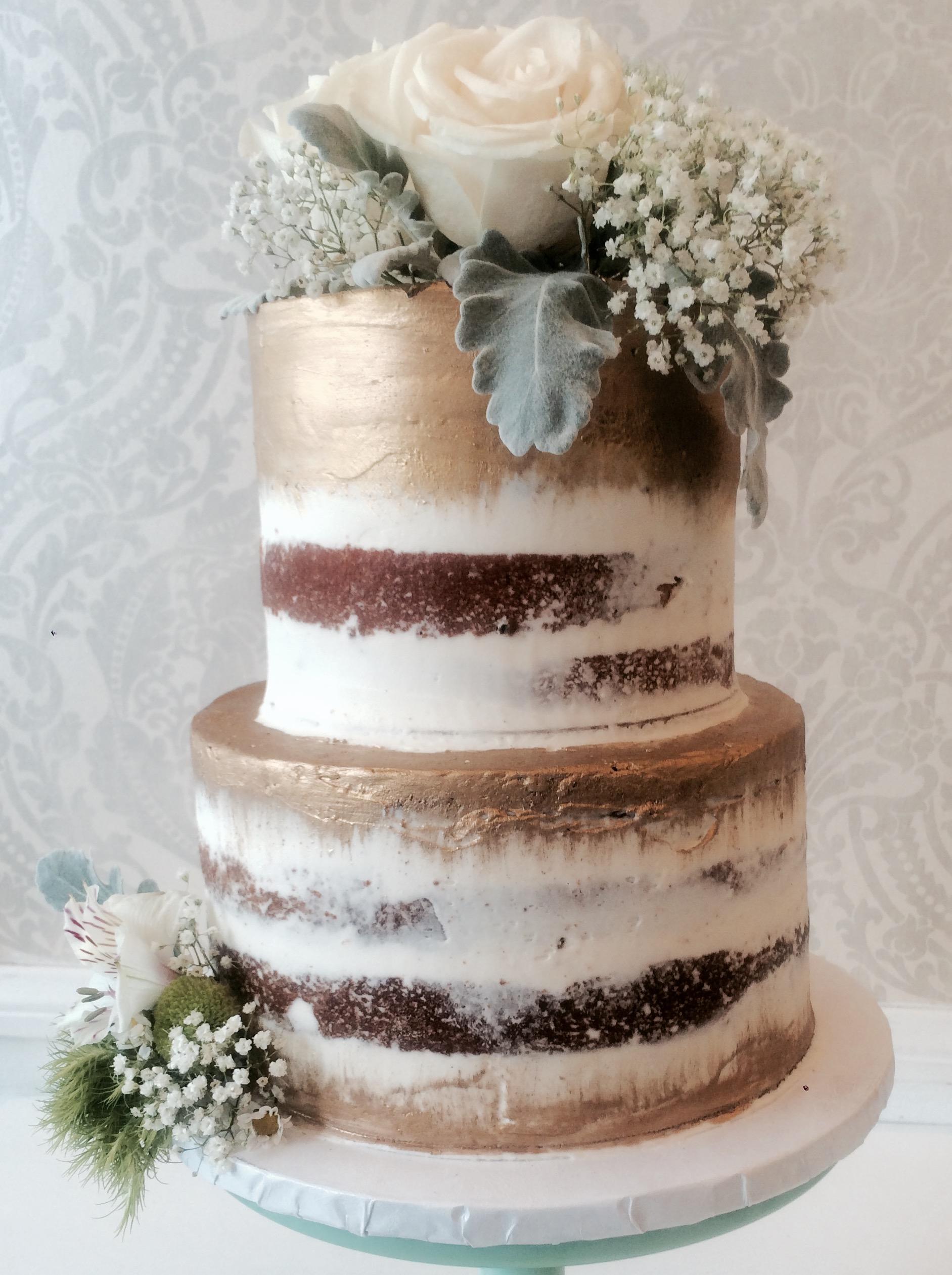 Modern Wedding Cake Copper Drip