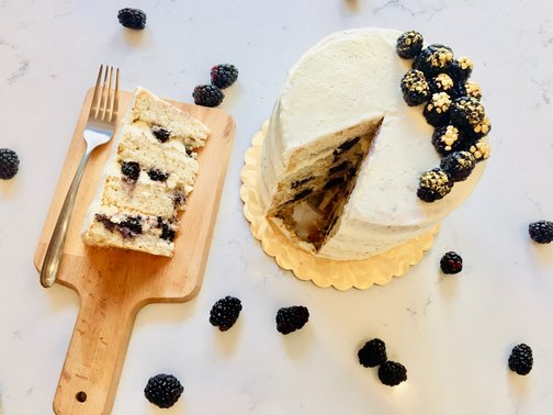 Vegan Vanilla Bean Cake with Fresh Berries
