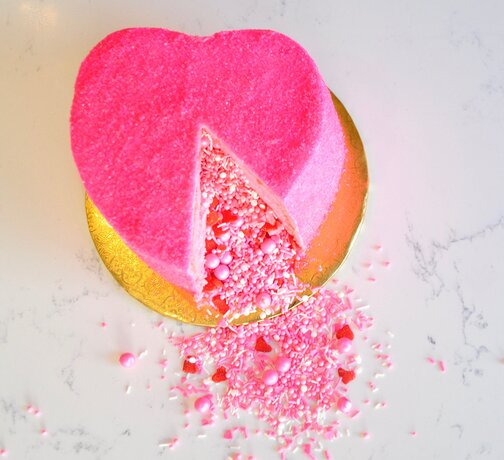 Surprise! Explosion Pink Heart Cake