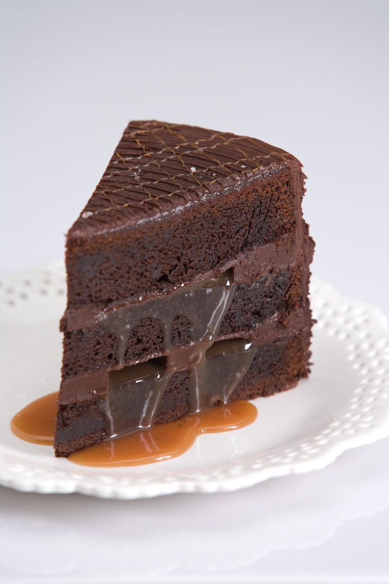 Dark Chocolate Cake, Creamy Caramel, Dash of French Sea Salt and Dark ...